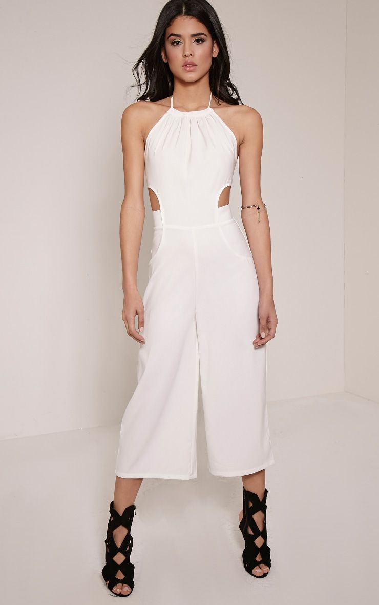 Racheal White Halterneck Cut Out Jumpsuit