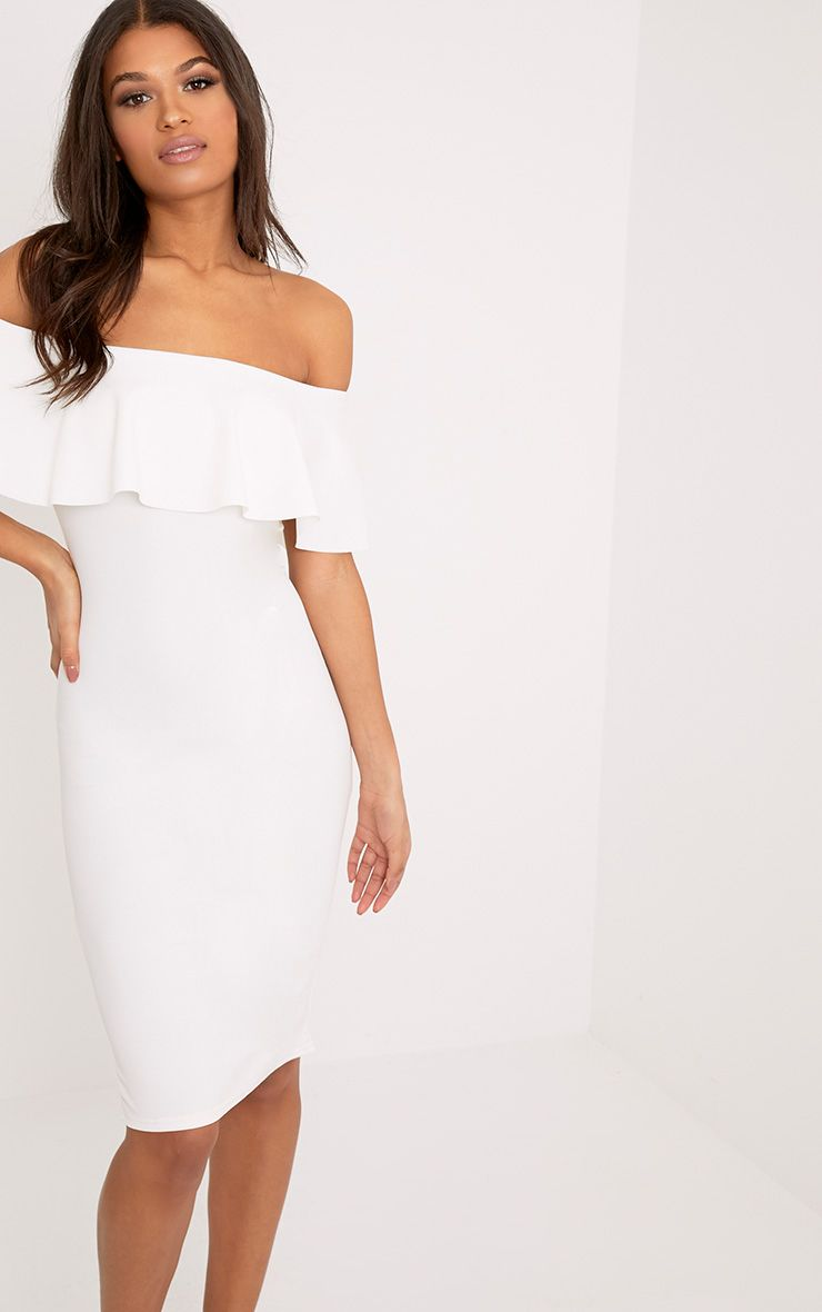 Celinea White Bardot Frill Midi Dress