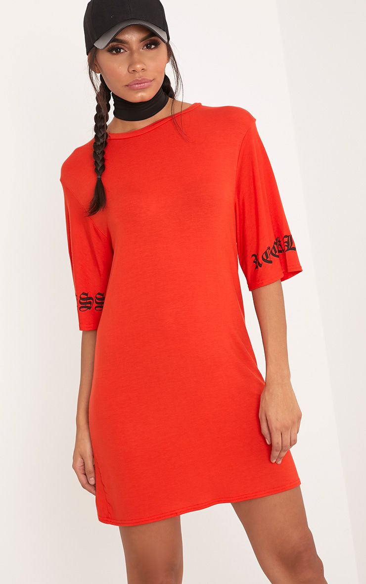 Reckless Print T Shirt Dress Orange