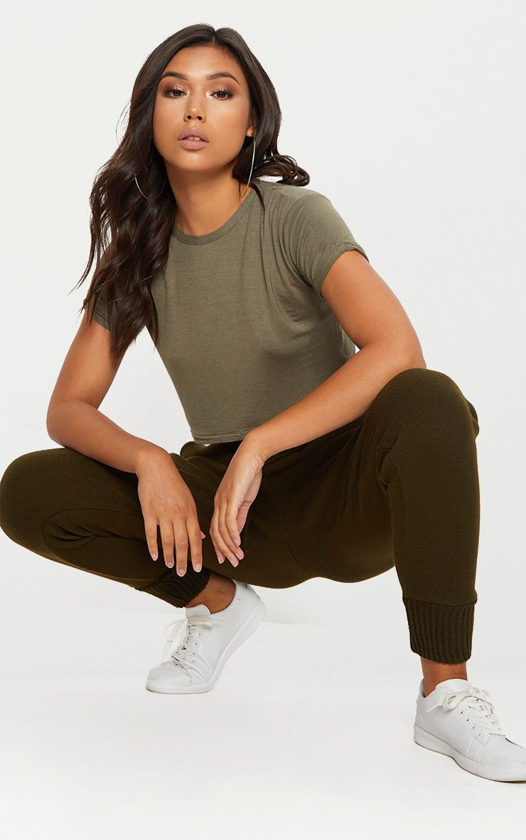 Basic Khaki Roll Sleeve Crop T Shirt 1