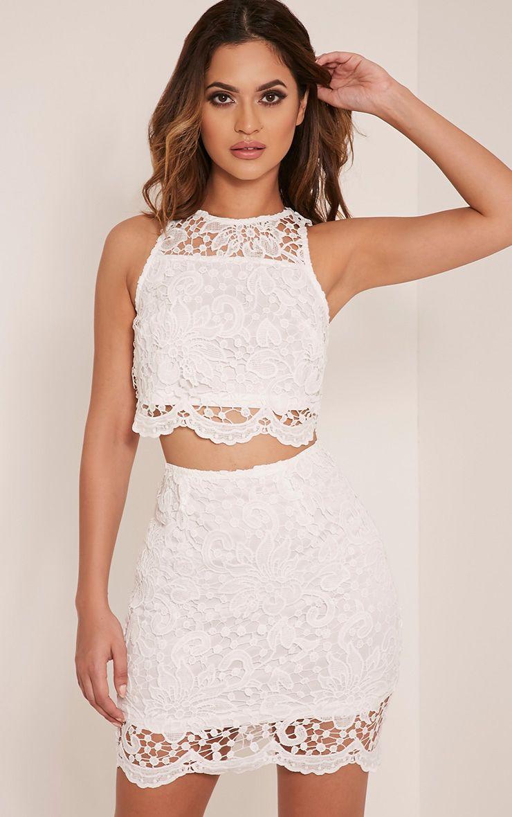 Millicent White Crochet Lace Crop Top 1