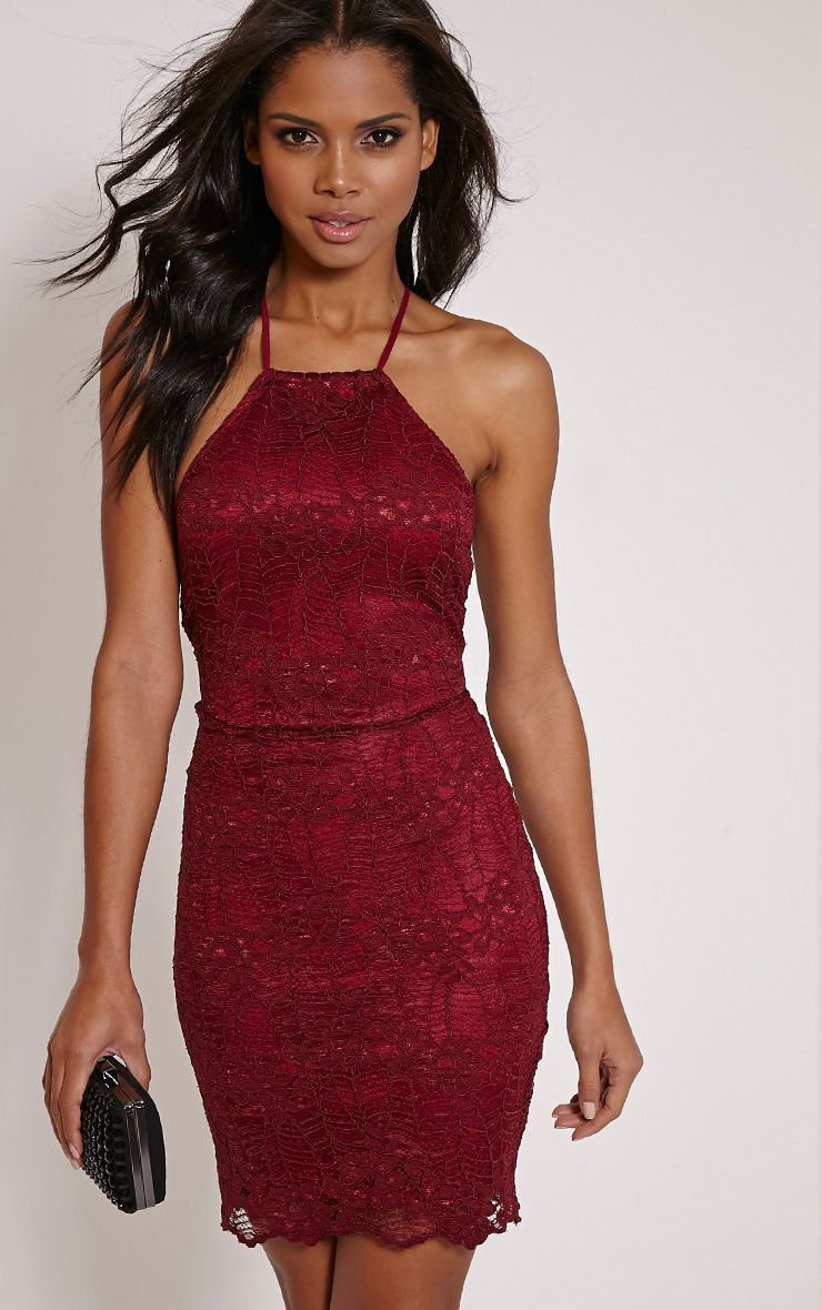 Kayah Burgundy Lace Halterneck Mini Dress