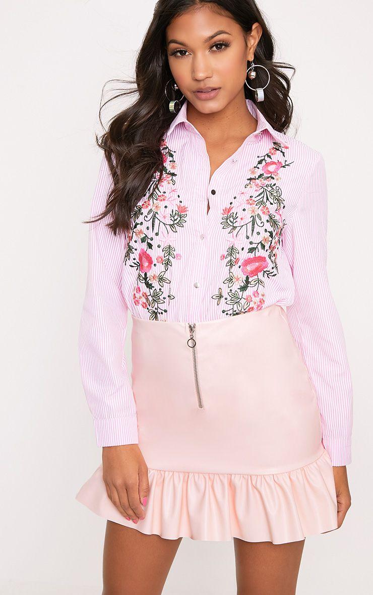 Baby Pink PU Ring Zip Frill Hem Mini Skirt
