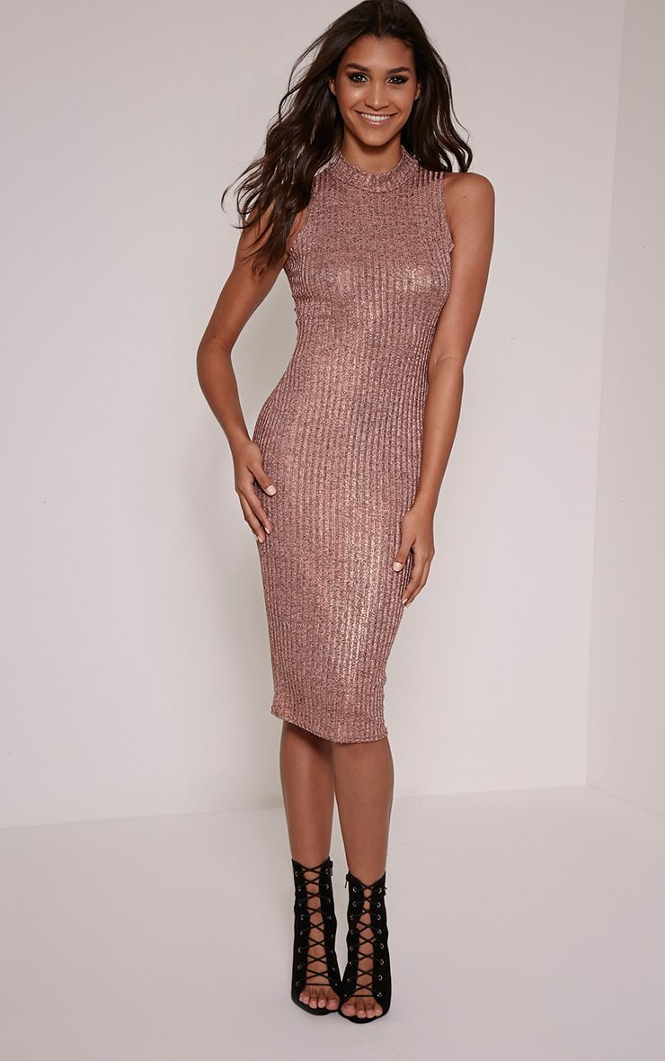 Kaicey Bronze Turtle Neck Bodycon Midi Dress 1