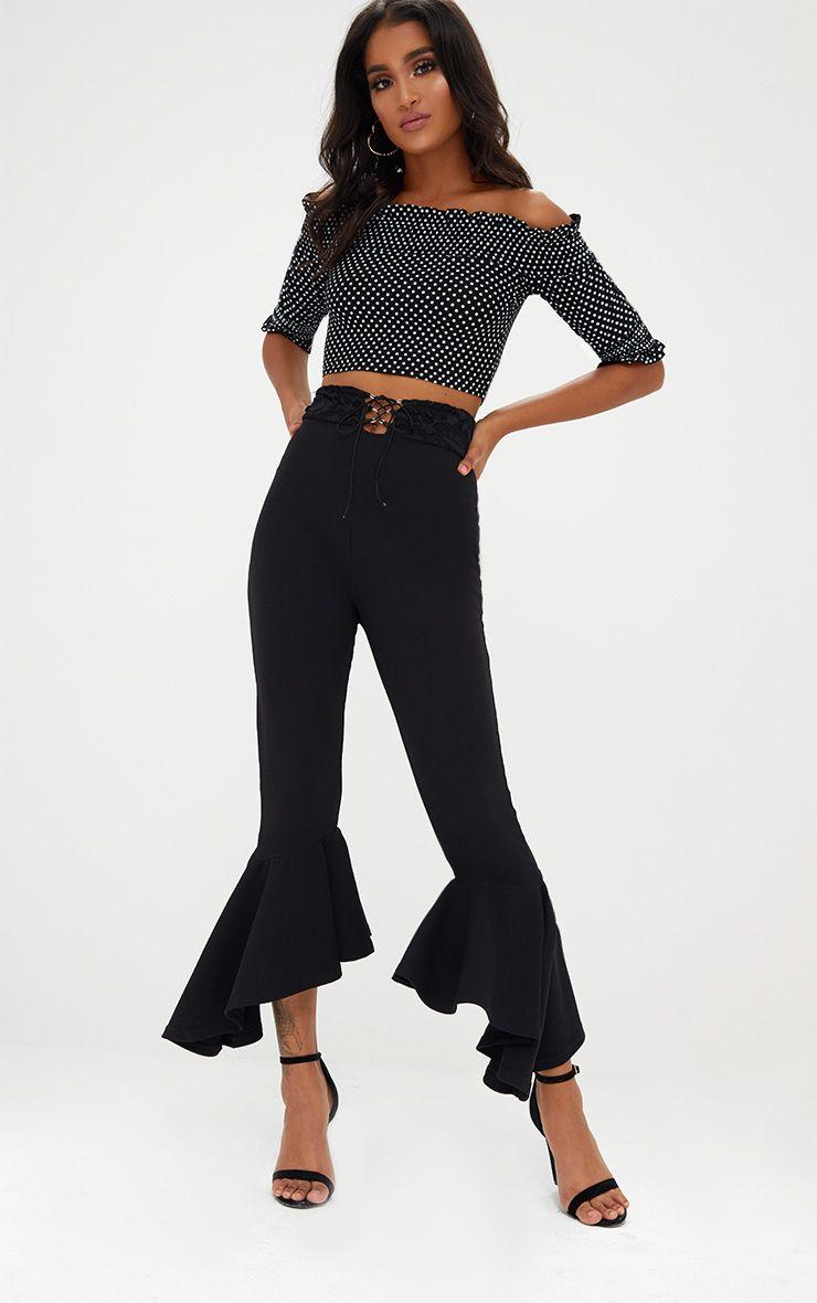 Black Corset Waist Asymmetric Flare Trousers