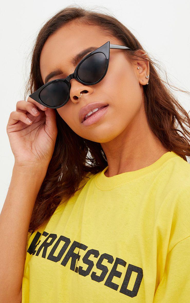 Black Extreme Cat Eye Slim Sunglasses