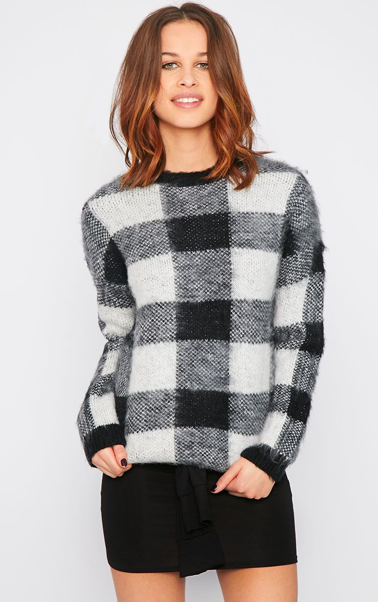 Poppy Black Checked Fluffy Jumper  1