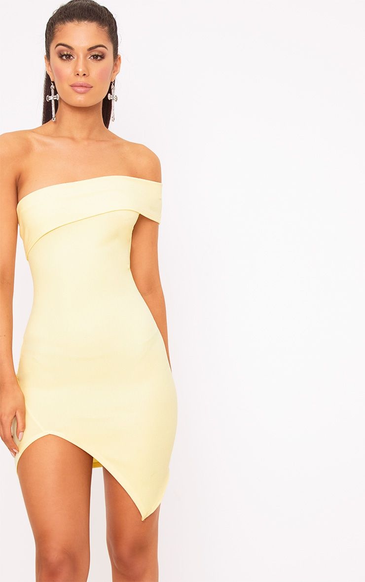 Lemon One Arm Wrap Bodycon Dress