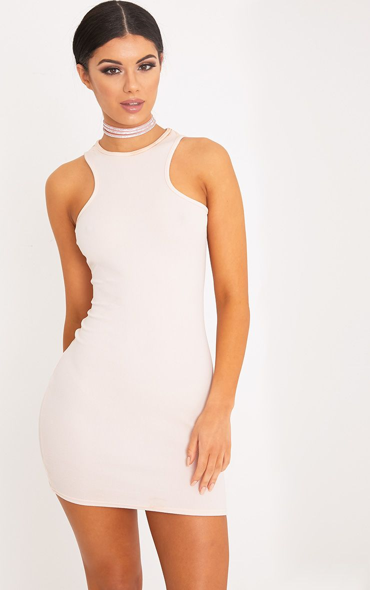 Ivankah Nude Racer Neck Bodycon Dress