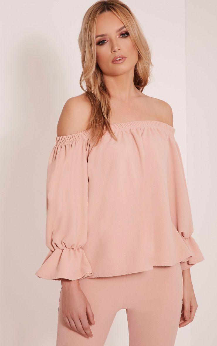 Evalyn Blush Bardot Frill Sleeve Top 1