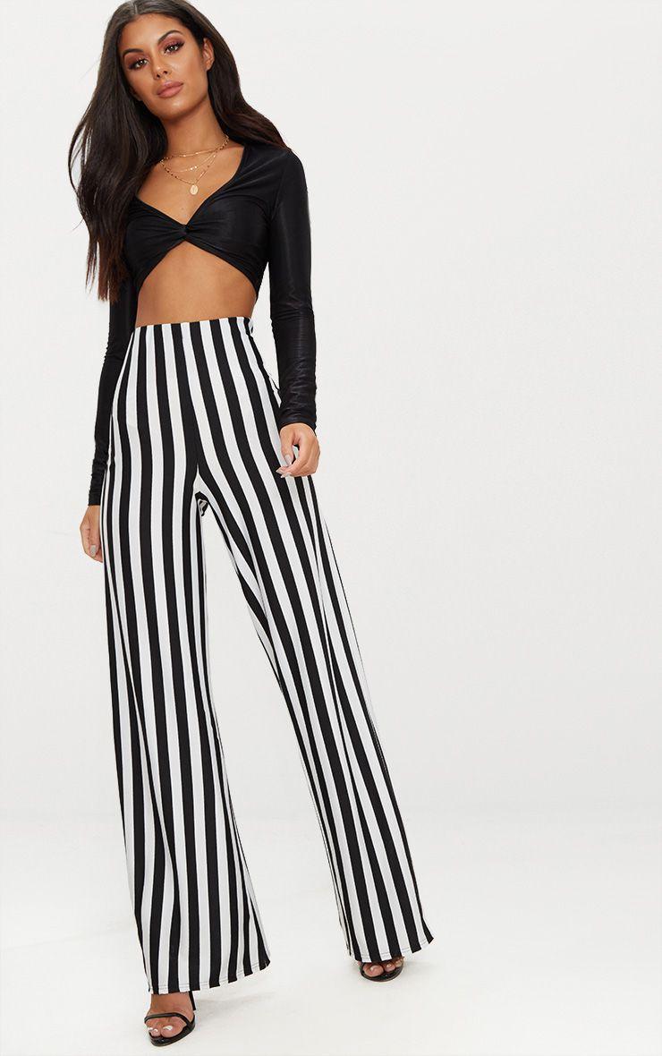 Black High Waisted Crepe Stripe Wide Leg Trouser