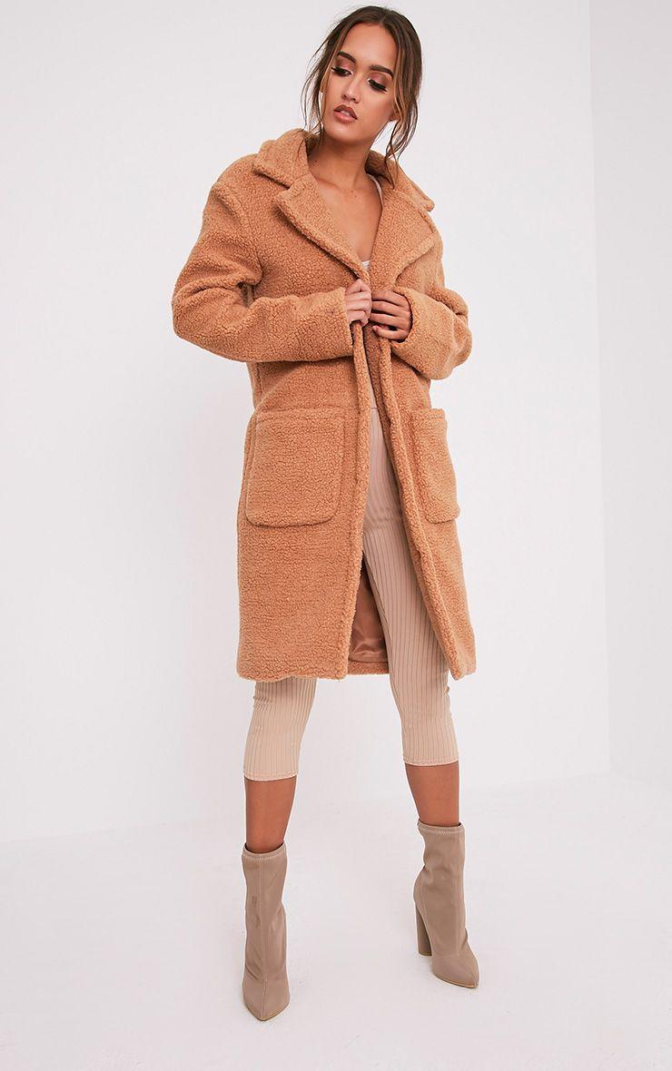Taibah Camel Teddy Fur Longline Coat