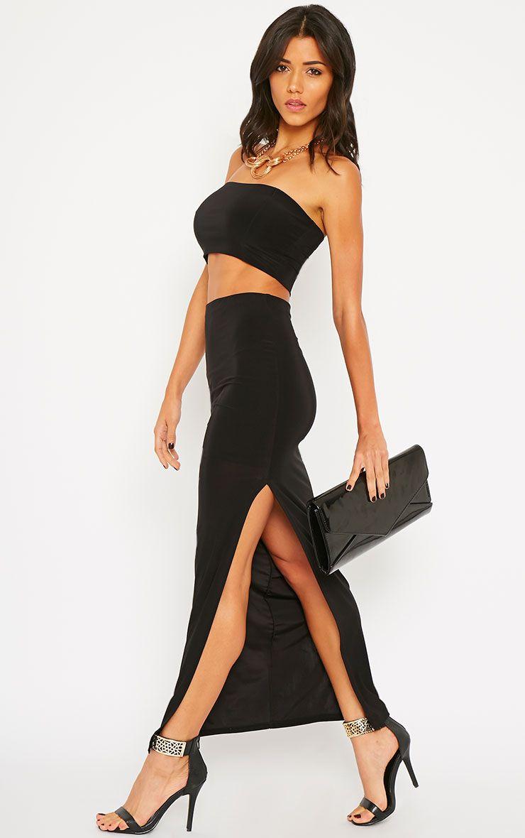 Helsa Black Slinky Split Maxi Skirt 1