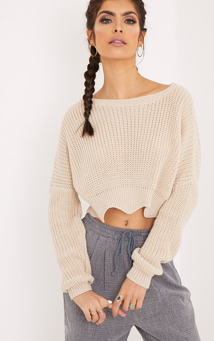 Aeesha Stone Scallop Crop Jumper