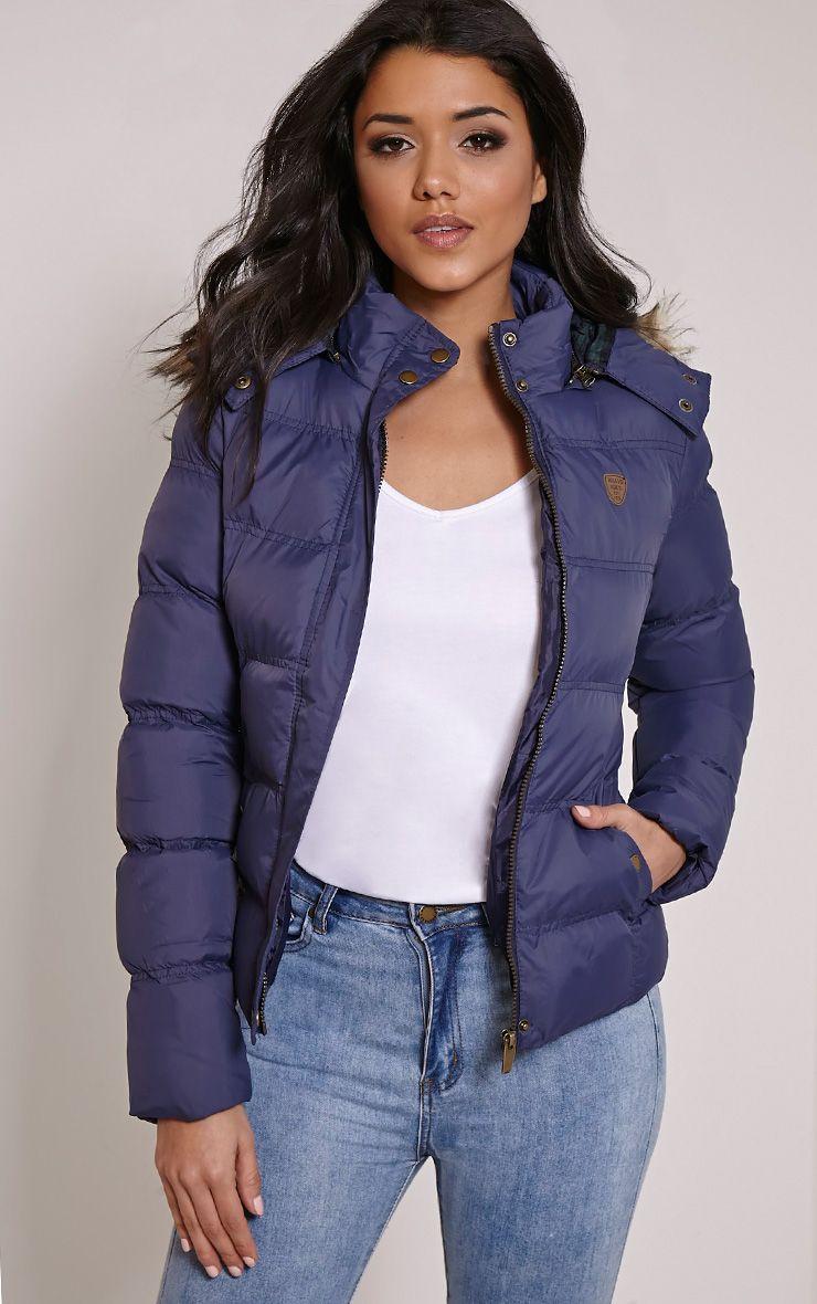 Victoria Navy Faux Fur Hooded Puffa Jacket 1