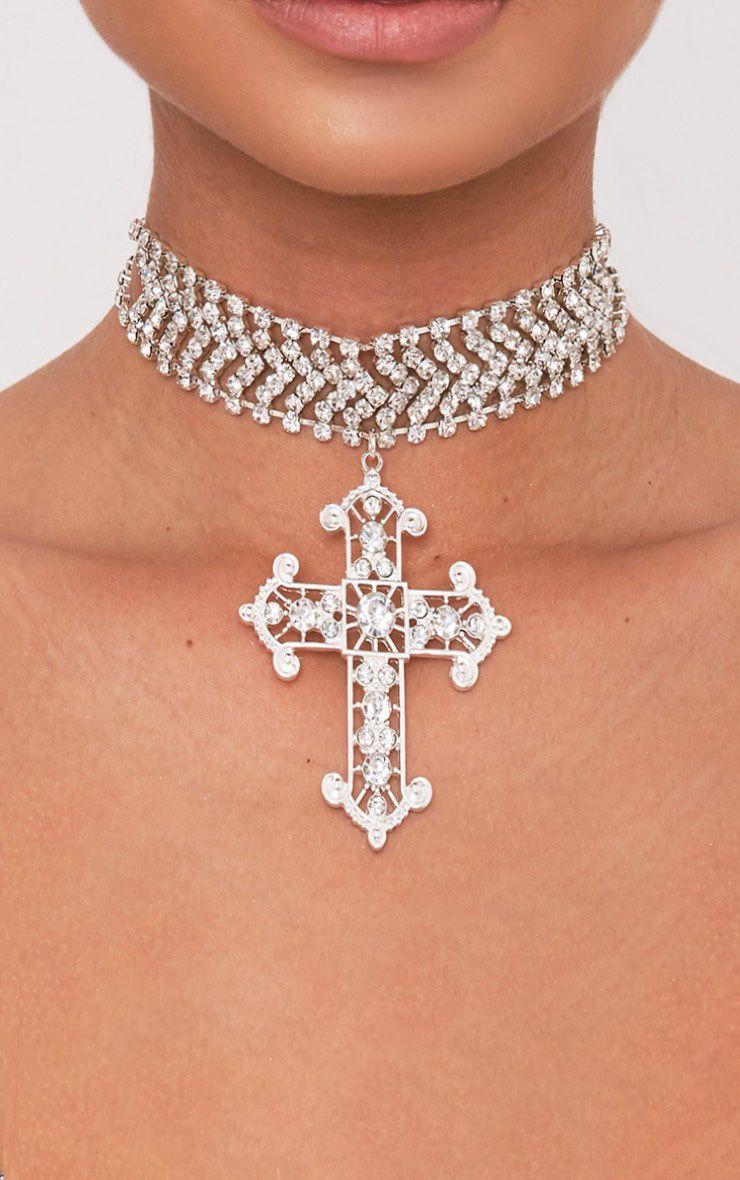 Ena Silver Diamante Detail Cross Choker 1