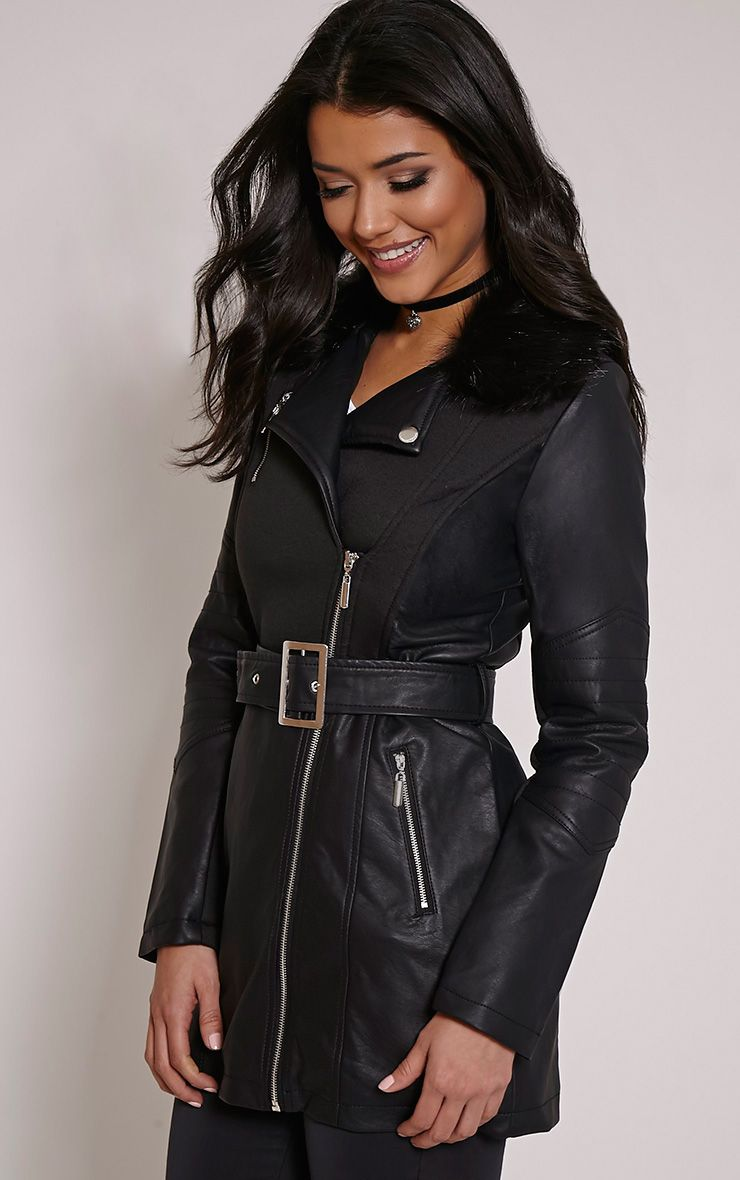 Jenny Black Faux Fur Collar Faux Leather Belted Jacket 1