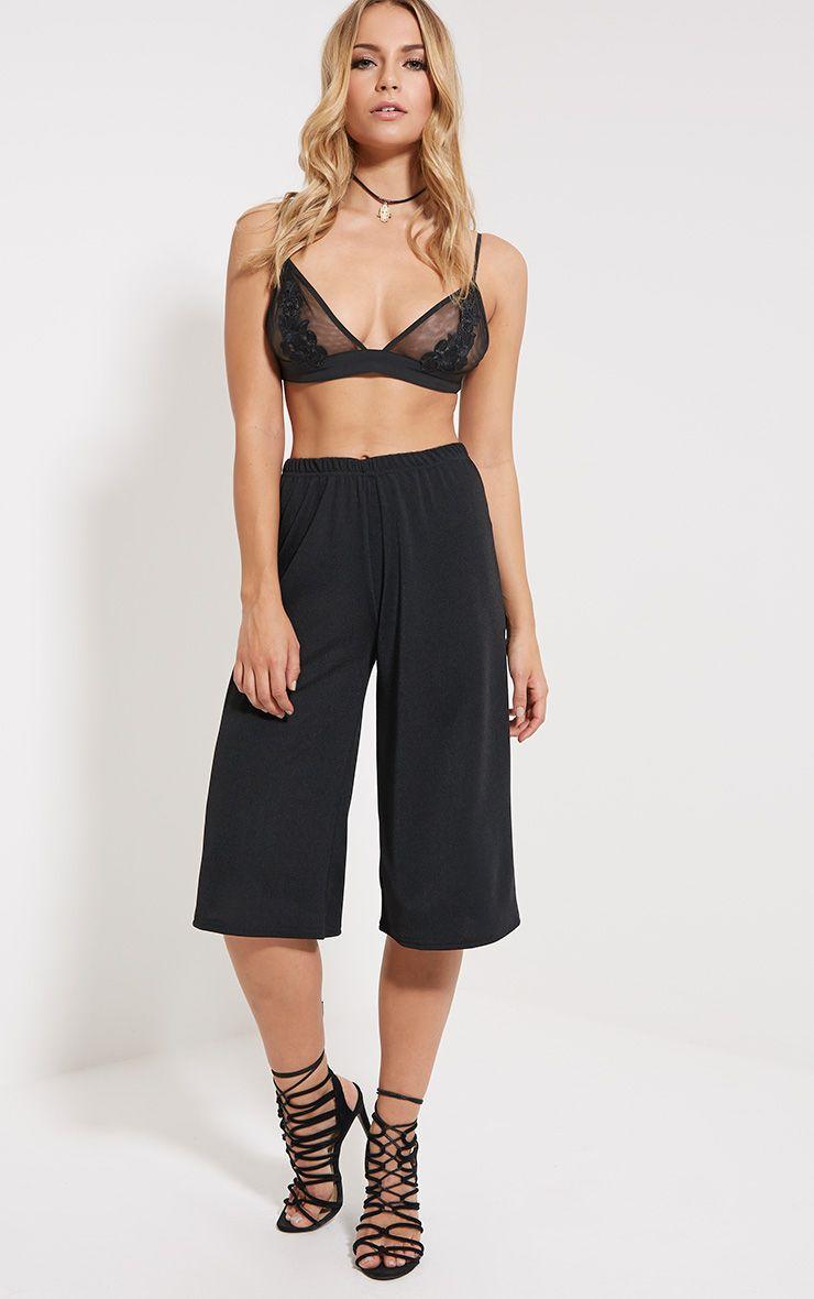 Aalia Black Crepe Culottes 1