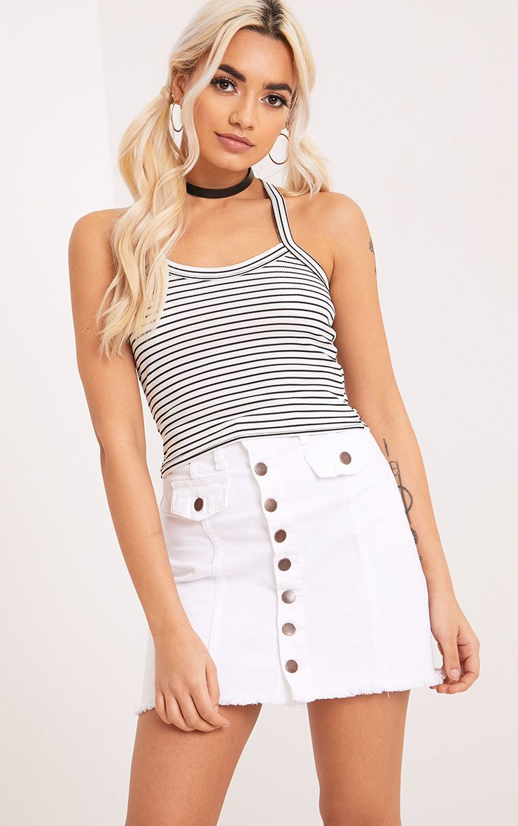 Denna White Stripe Racer Back Crop Top