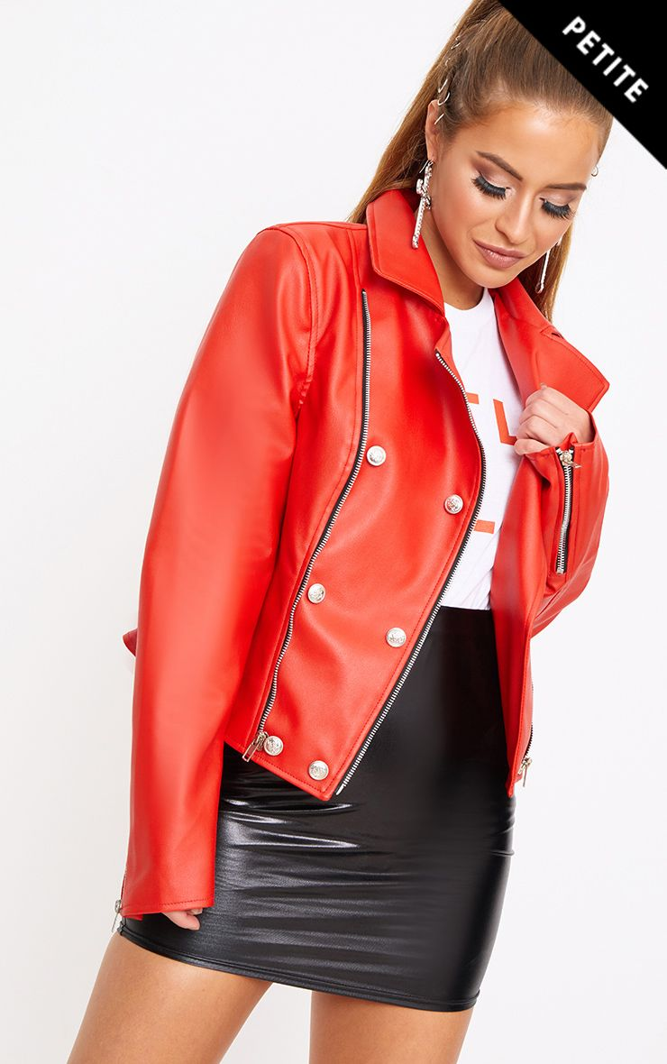 Red Military Button PU Biker Jacket