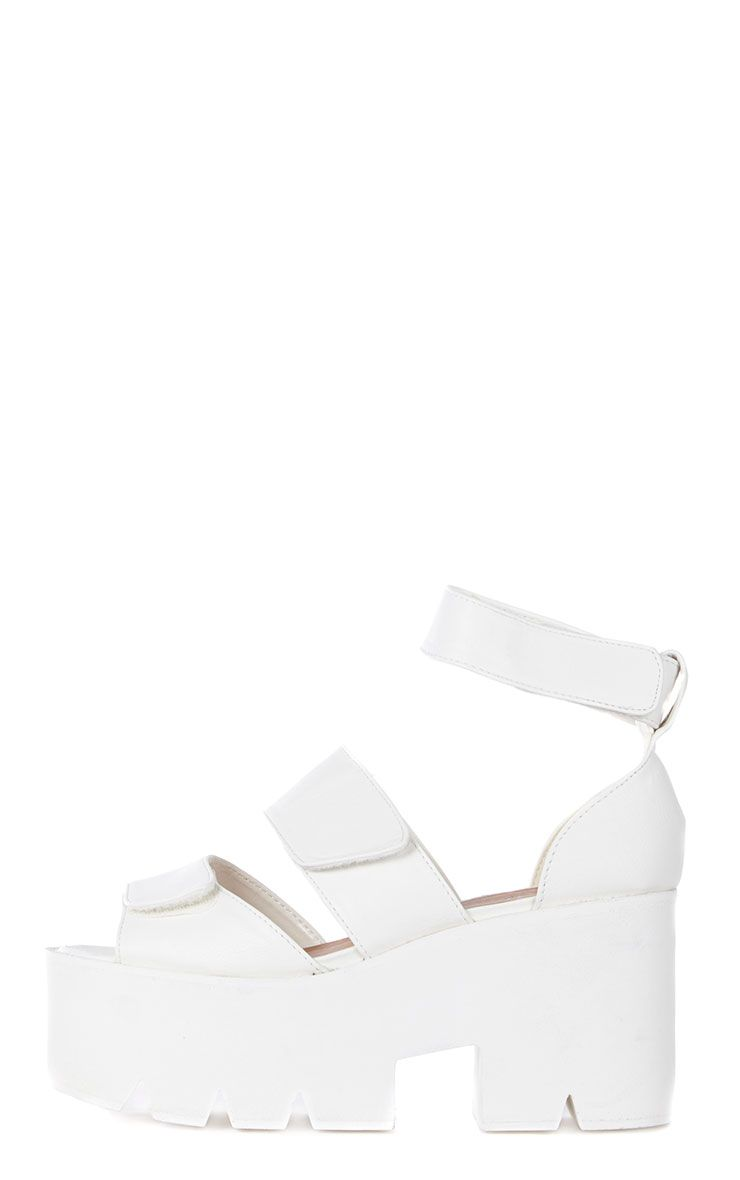Anna White Cleated Sole Flatform Velcro Sandals 1