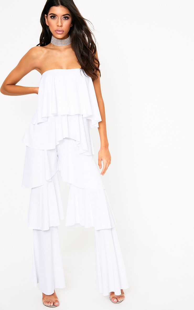 White Bardot Frill Layer Detail Jumpsuit 1