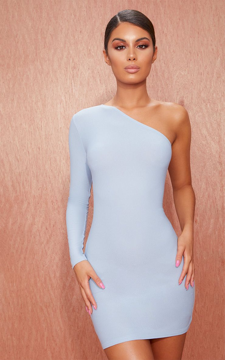 Dusty Blue Crepe One Sleeve Bodycon Dress