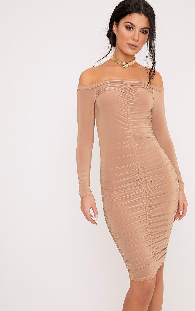 Alexa Camel Slinky Bardot Ruched Midi Dress