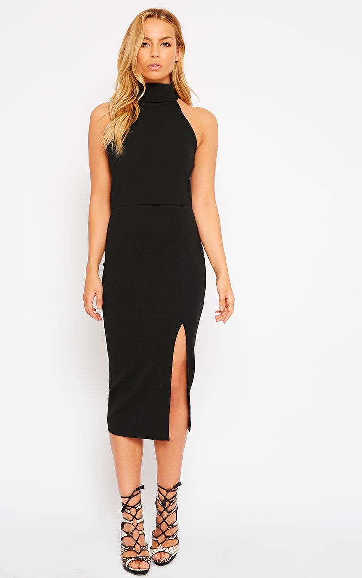 Gabi Black High Neck Split Front Dress 1