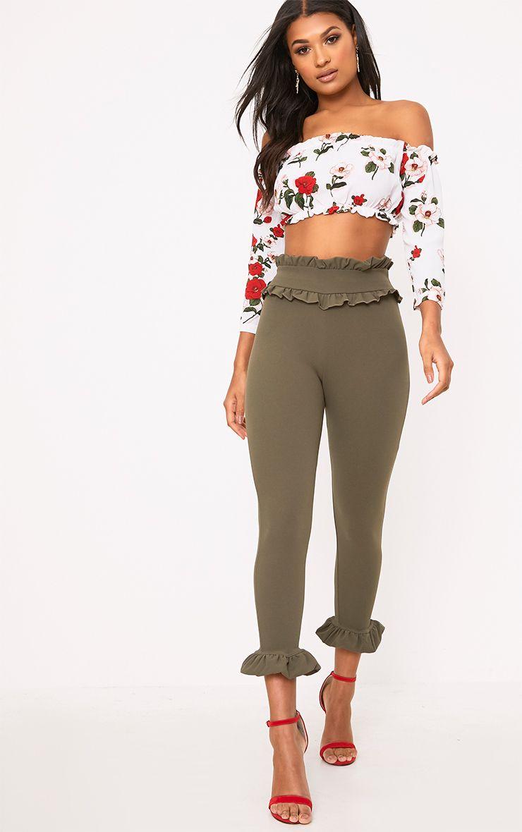Khaki Keren Frill Hem Trousers