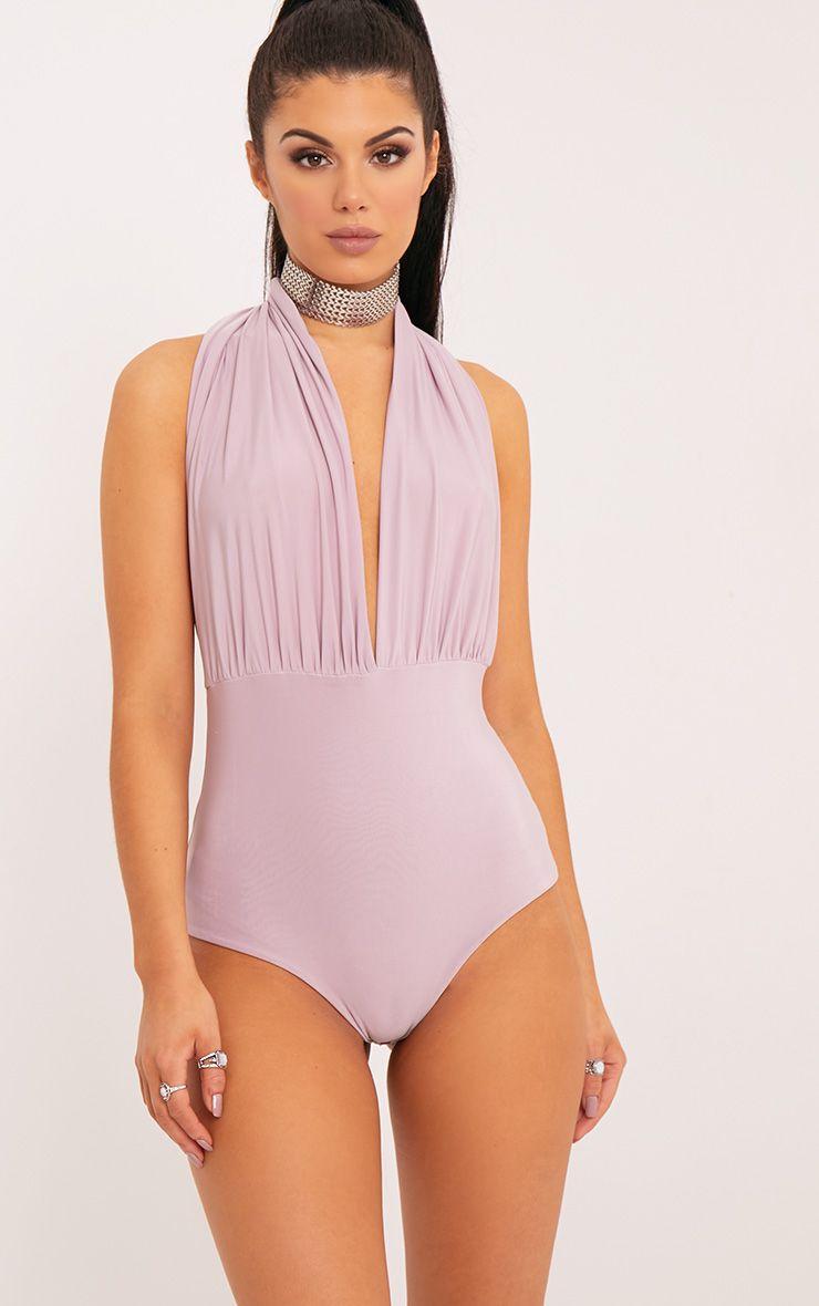 Ema Lilac Slinky Ruched Halterneck Thong Bodysuit