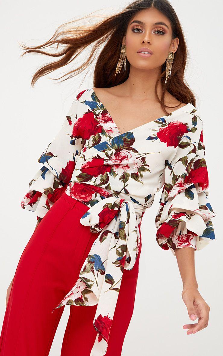 Marlow chemise cache-cœur ample volantée blanche à fleurs
