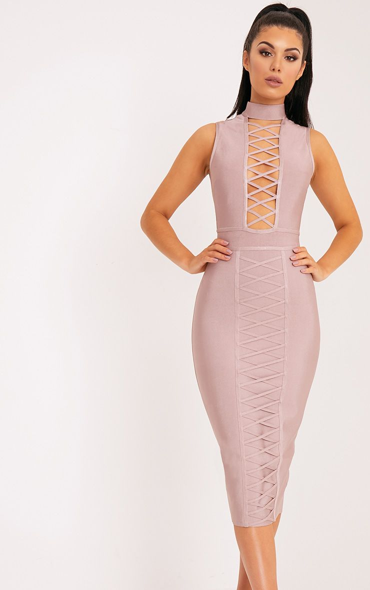 Mink Criss Cross Bandage Midi Dress