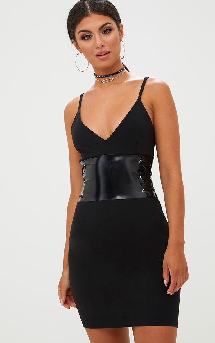 Black Corset Detail PU Bodycon Dress