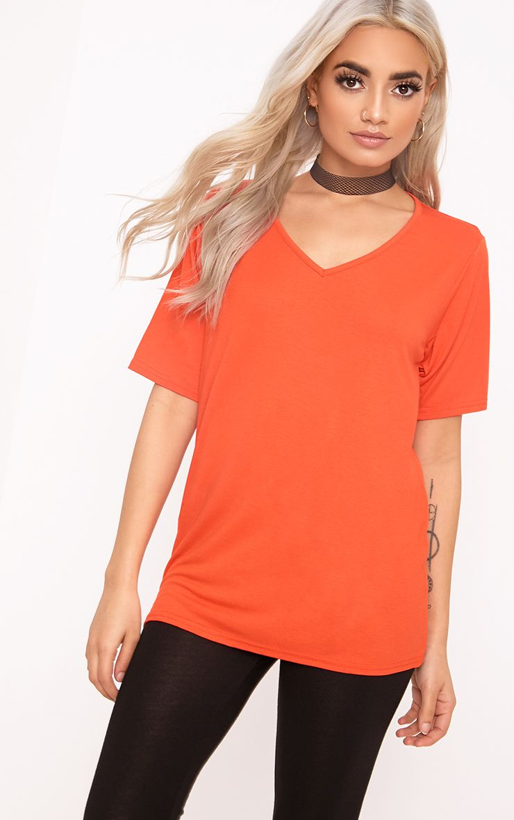 Basic Bright Orange V Neck T Shirt