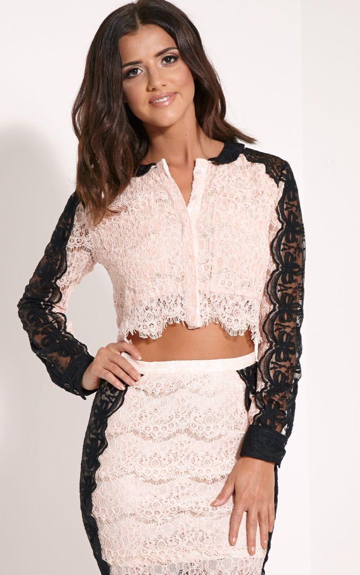 Ani Nude Lace Crop Shirt 1