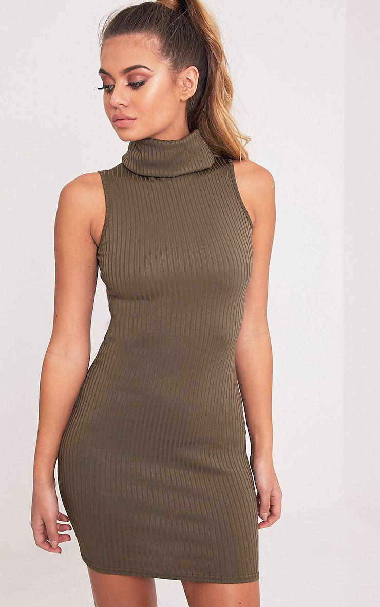 Marissa Khaki Ribbed Turtle Neck Mini Dress