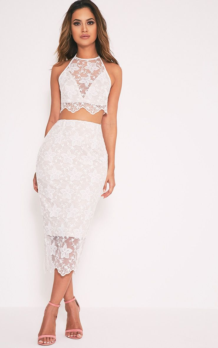 Nikola White Lace Midi Skirt