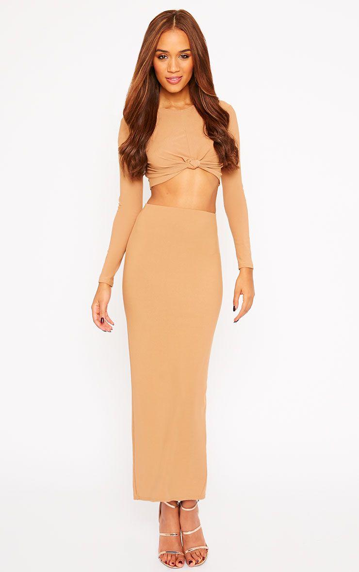 Zafia Camel Crepe Split Maxi Skirt 1