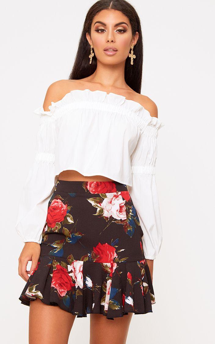 Black Rose Print Frill Hem Mini Skirt