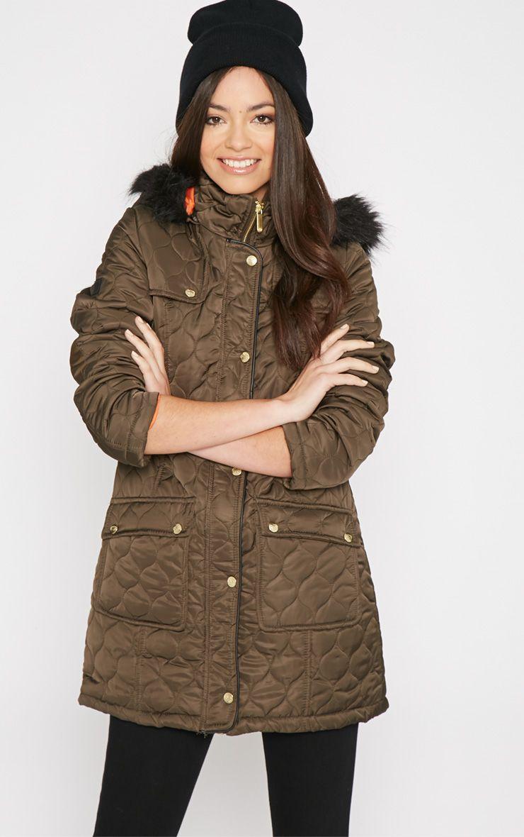 Dasia Khaki Quilted Coat with Fur Collar -16 1