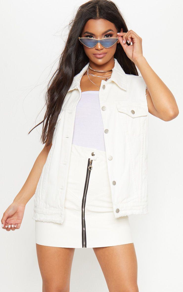 Oversized Distressed White Denim Jacket