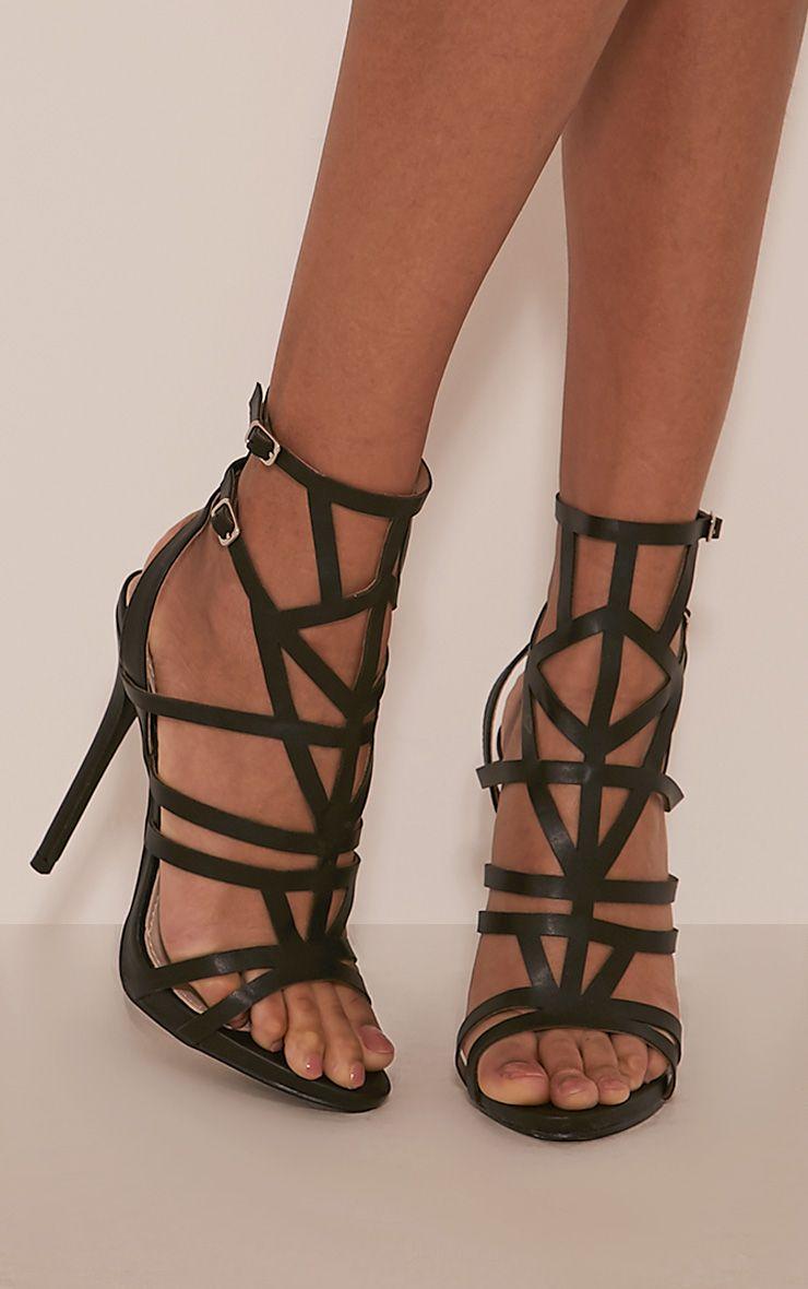 Sami Black PU Cut Out Heeled Sandals 1