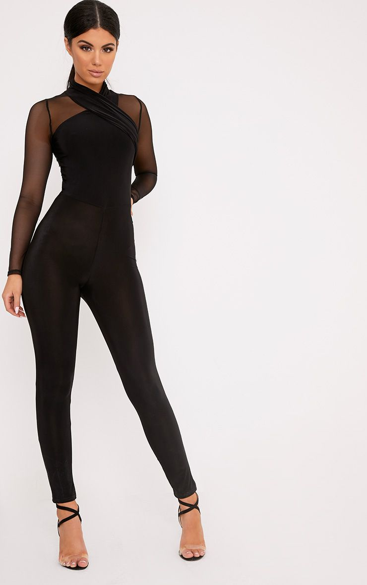 Tina Black Slinky Cross Front Jumpsuit