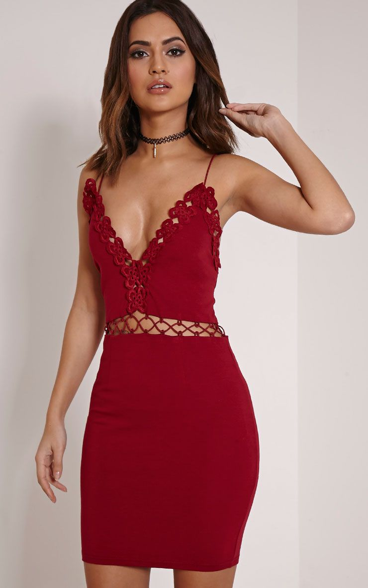 Ashley Burgundy Crochet Detail Mini Dress 1