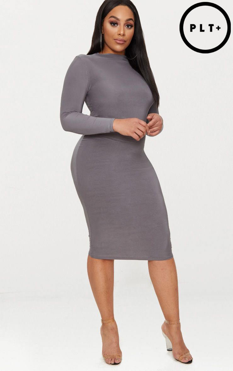 Plus Charcoal Grey Second Skin Slinky High Neck Midaxi Dress