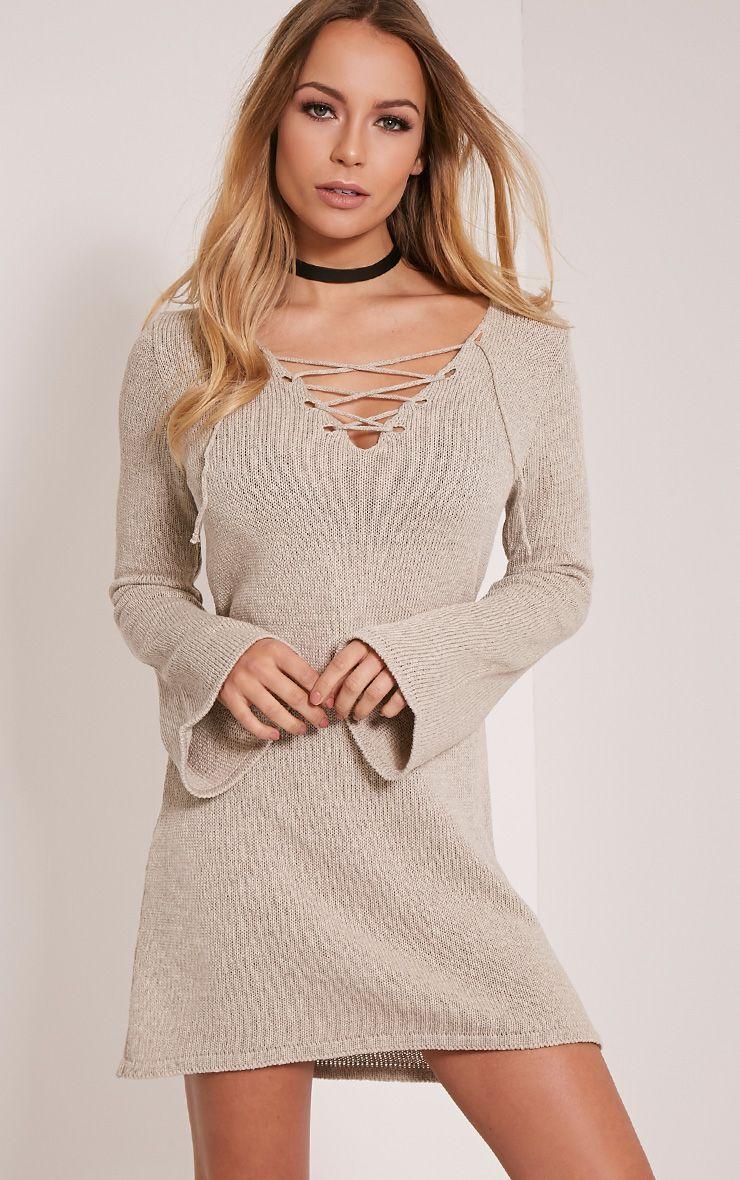 Nena Stone Knitted Bell Sleeve Dress 1