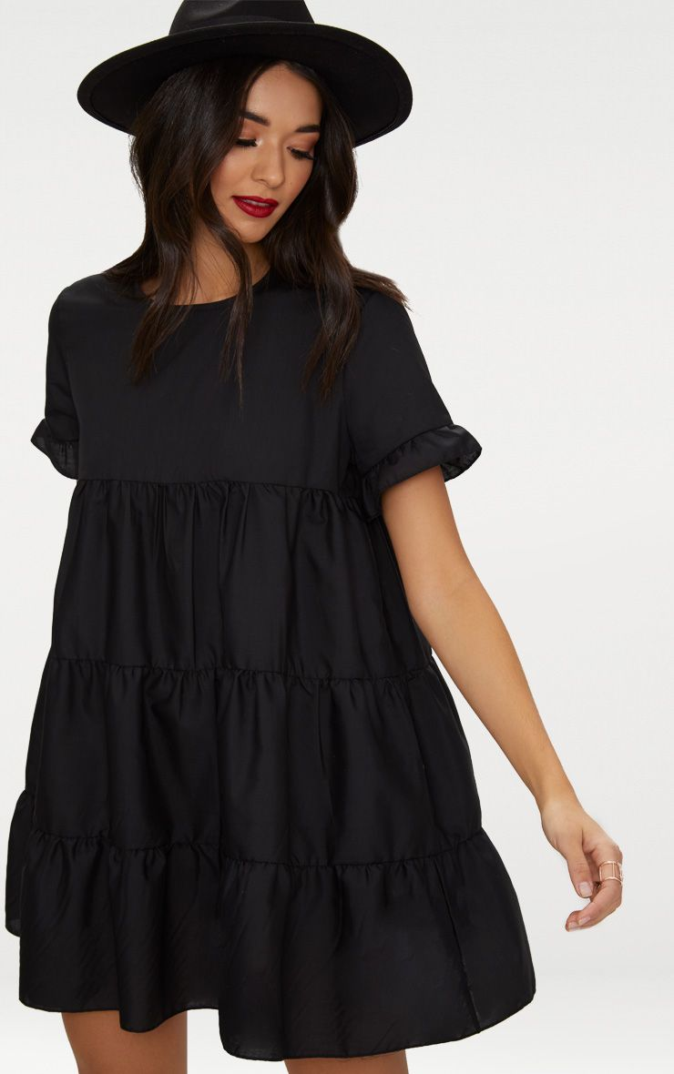 Black Tiered Poplin Smock Dress