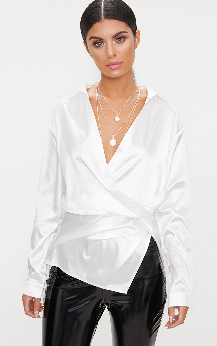 White Satin Twist Front Shirt