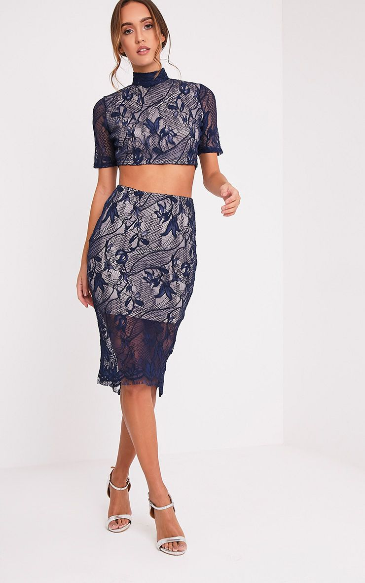 Leela Navy Lace Midi Skirt
